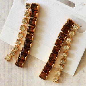 new vintage gold brown rhinestone drop earrings
